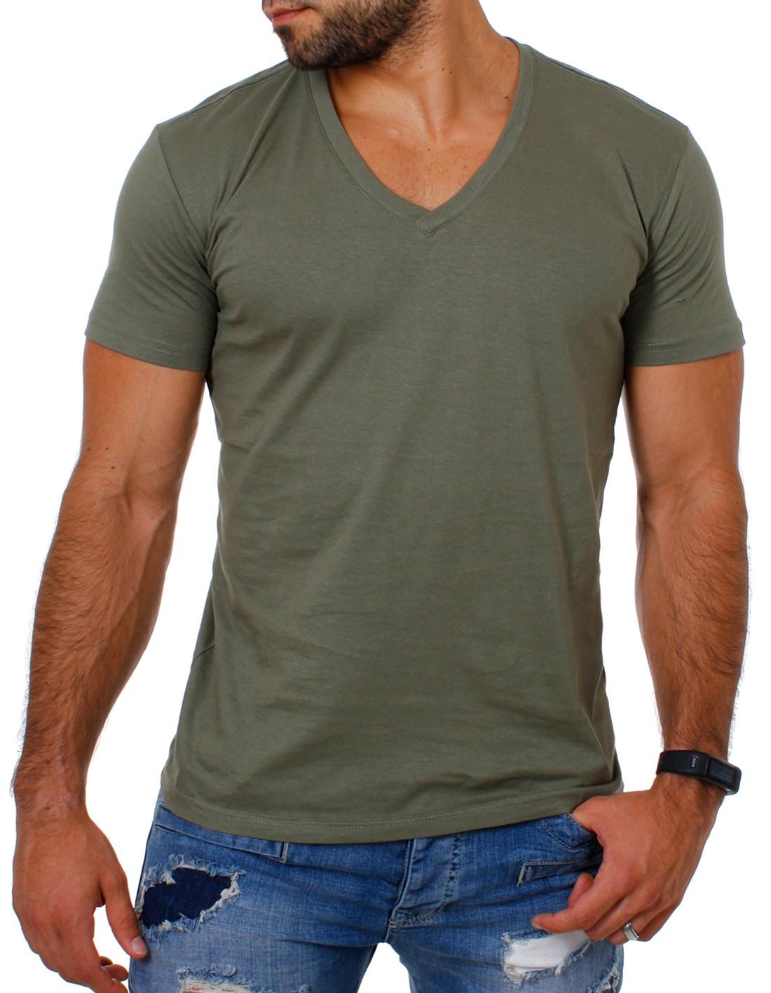 Young-amp-Rich-Uni-Basic-T-Shirt-tiefer-V-Ausschnitt-einfarbig-fuer-Herren-Maenner
