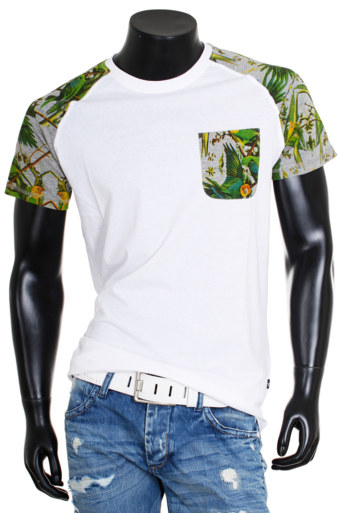 shine original herren rundhals t shirt party club kontrast flower blumen sommer paradies look. Black Bedroom Furniture Sets. Home Design Ideas