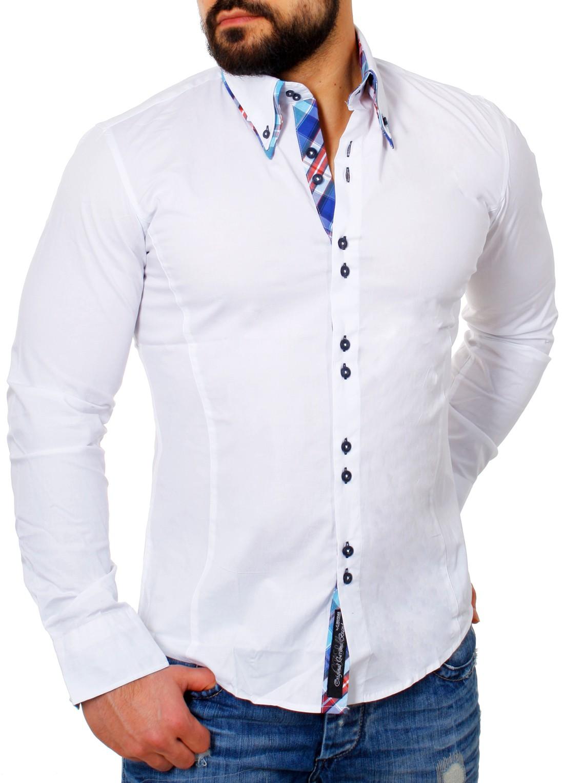 hot sale online 444f0 53138 Details zu Carisma Herren Kontrast Look Manschetten Hemd Slim Fit  körperbetonte Passform
