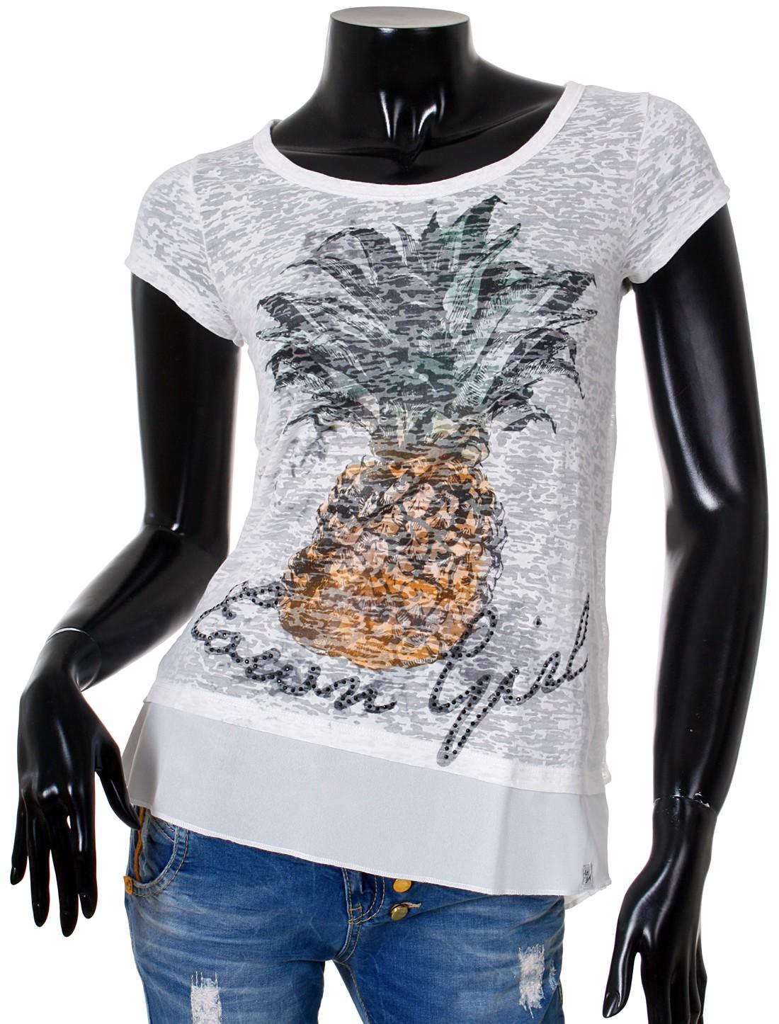 key largo damen t shirt fruit vintage strasss look 2in1 double look optik cherry ebay. Black Bedroom Furniture Sets. Home Design Ideas