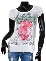Key Largo Damen T-Shirt Fruit Vintage Strasss Look 2in1 double Optik tiefer Rundhals Ausschnitt round