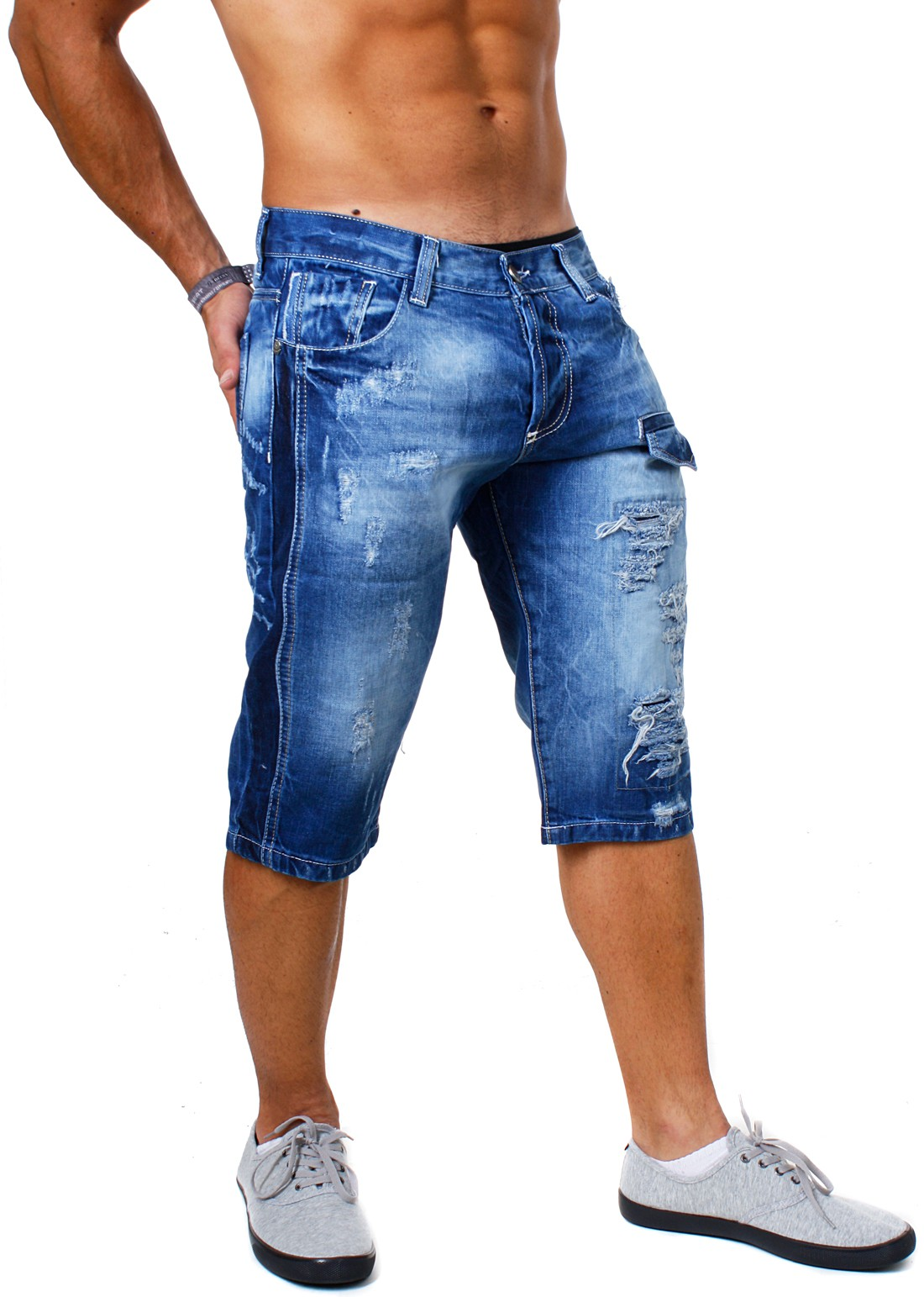 rerock herren denim destroyed jeans shorts vintage used look capri kurze hose zerissene kontrast. Black Bedroom Furniture Sets. Home Design Ideas