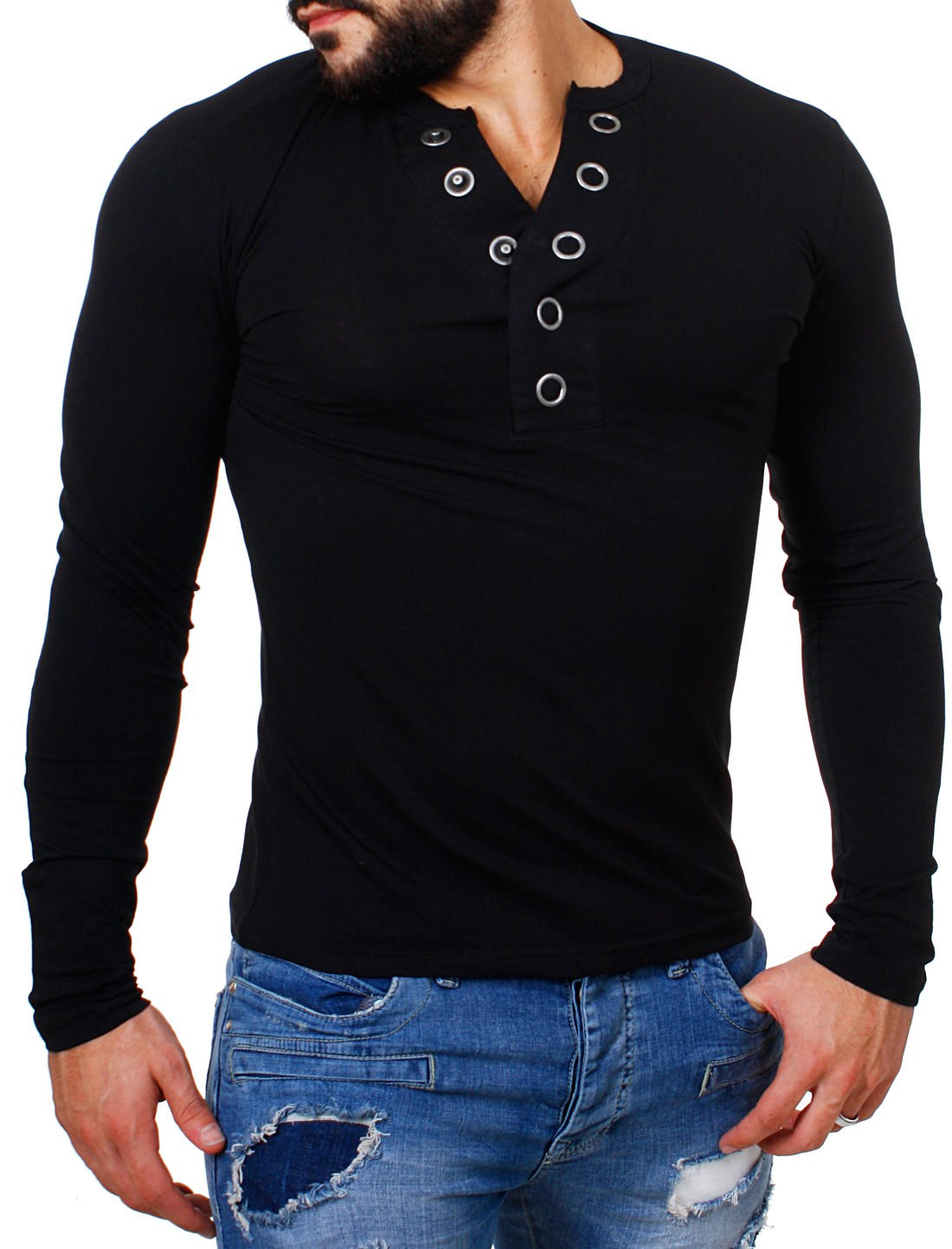 carisma herren longsleeve t shirt langarm knopfleiste bigbuttons slimfit stretch ebay. Black Bedroom Furniture Sets. Home Design Ideas