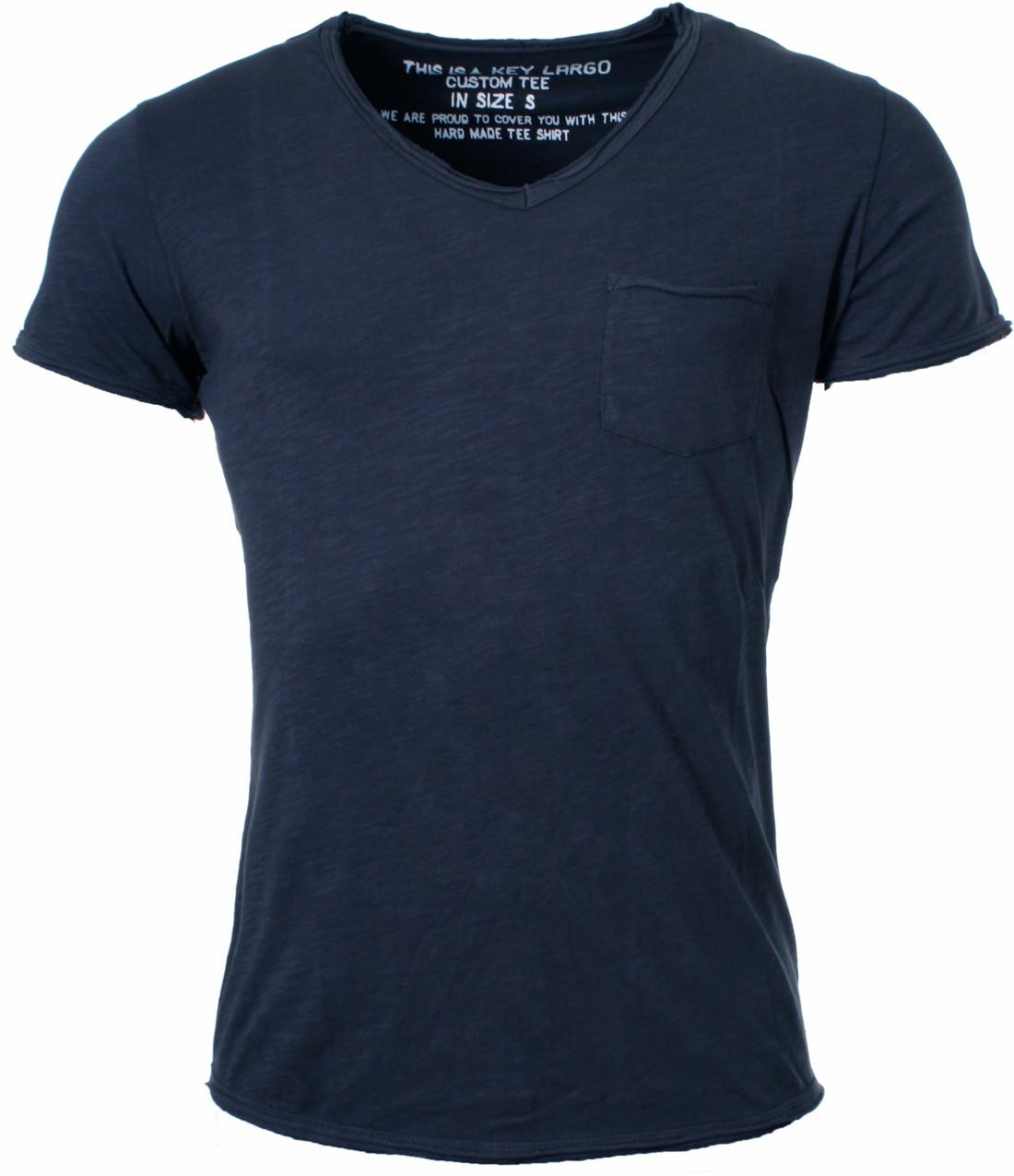 Key-Largo-Herren-vintage-Look-T-Shirt-Water-mit-Brusttasche-tiefer-V-Ausschnitt