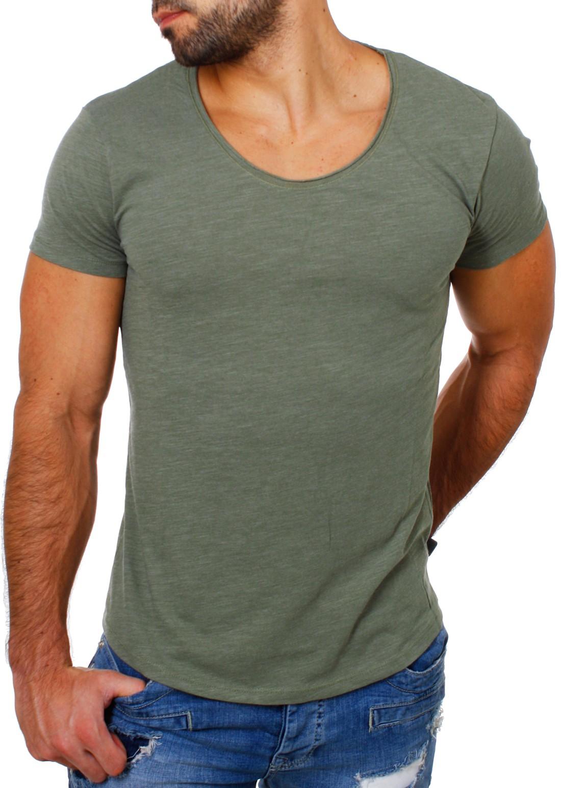 the best attitude 393ee 18ba0 Früchtl Herren Uni Basic T-Shirt tiefer Ausschnitt slimfit ...