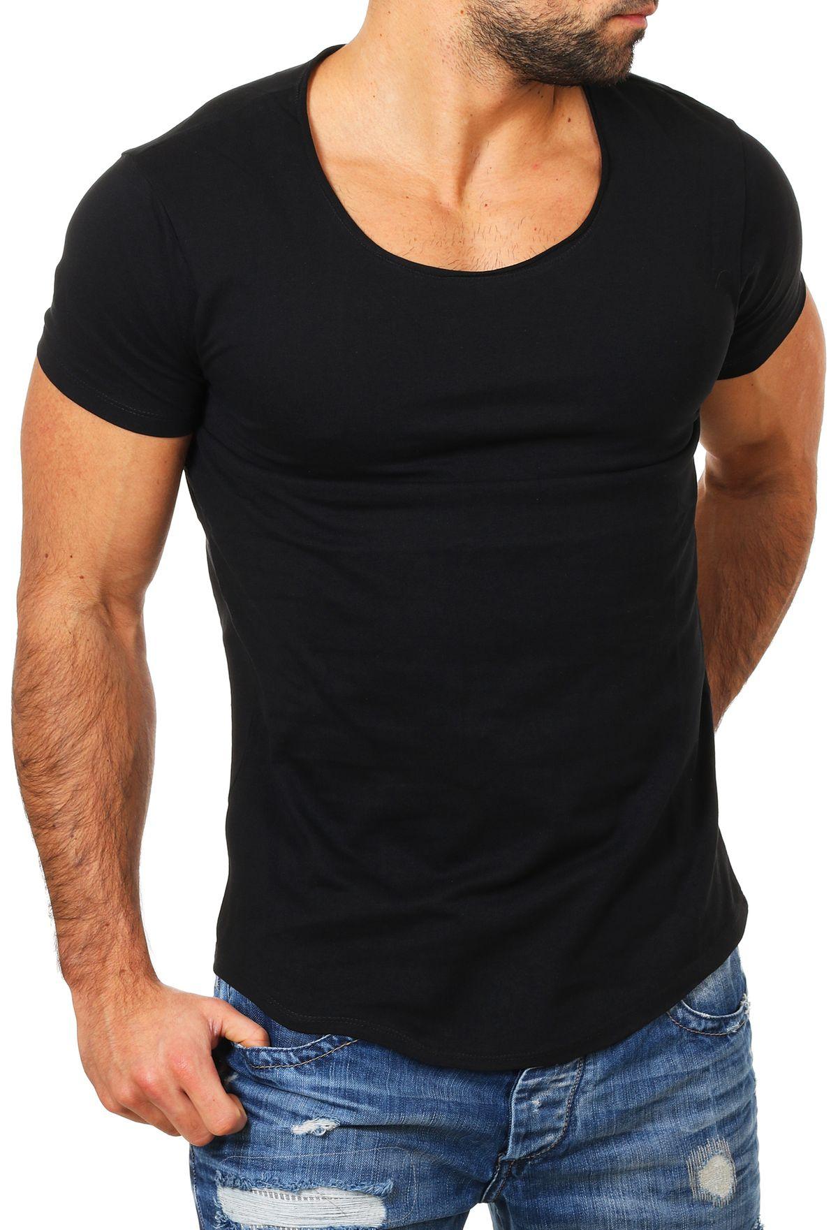 Fruechtl-Herren-T-Shirt-tiefer-Rundhals-Ausschnitt-einfarbig-slimfit-Vintage-Look