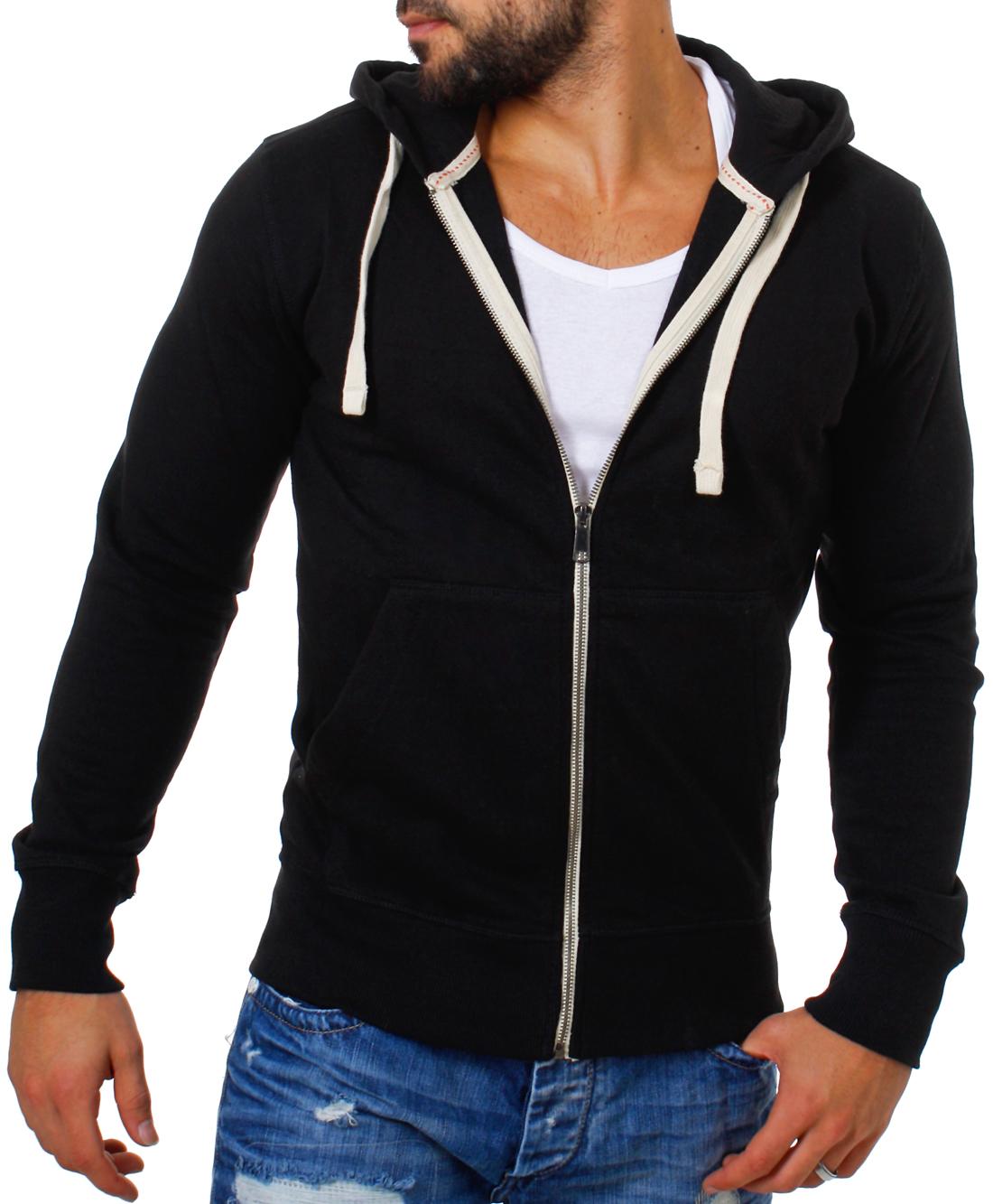 Details zu Young & Rich Herren Sweatjacke Sweatshirt Pullover mit Reißverschluss Kapuze 903