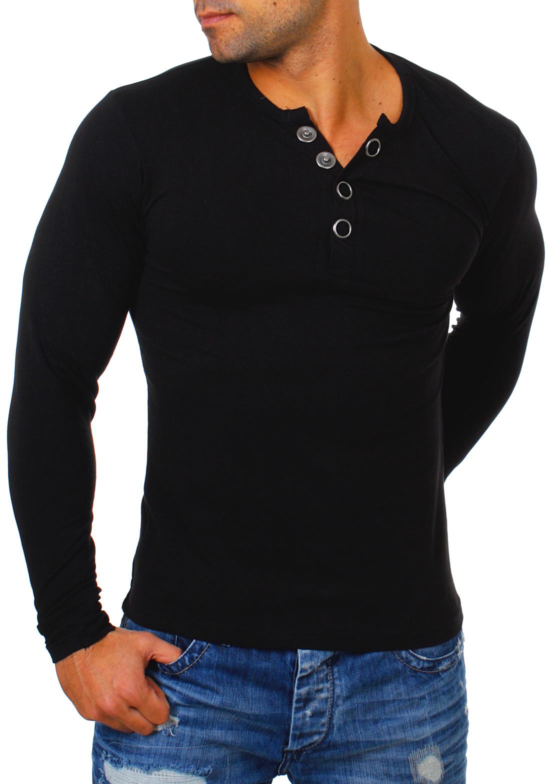 bieten viel billig zu verkaufen neueste auswahl Details zu Young & Rich Herren Longsleeve langarm T-Shirt Knopfleiste big  buttons stretch