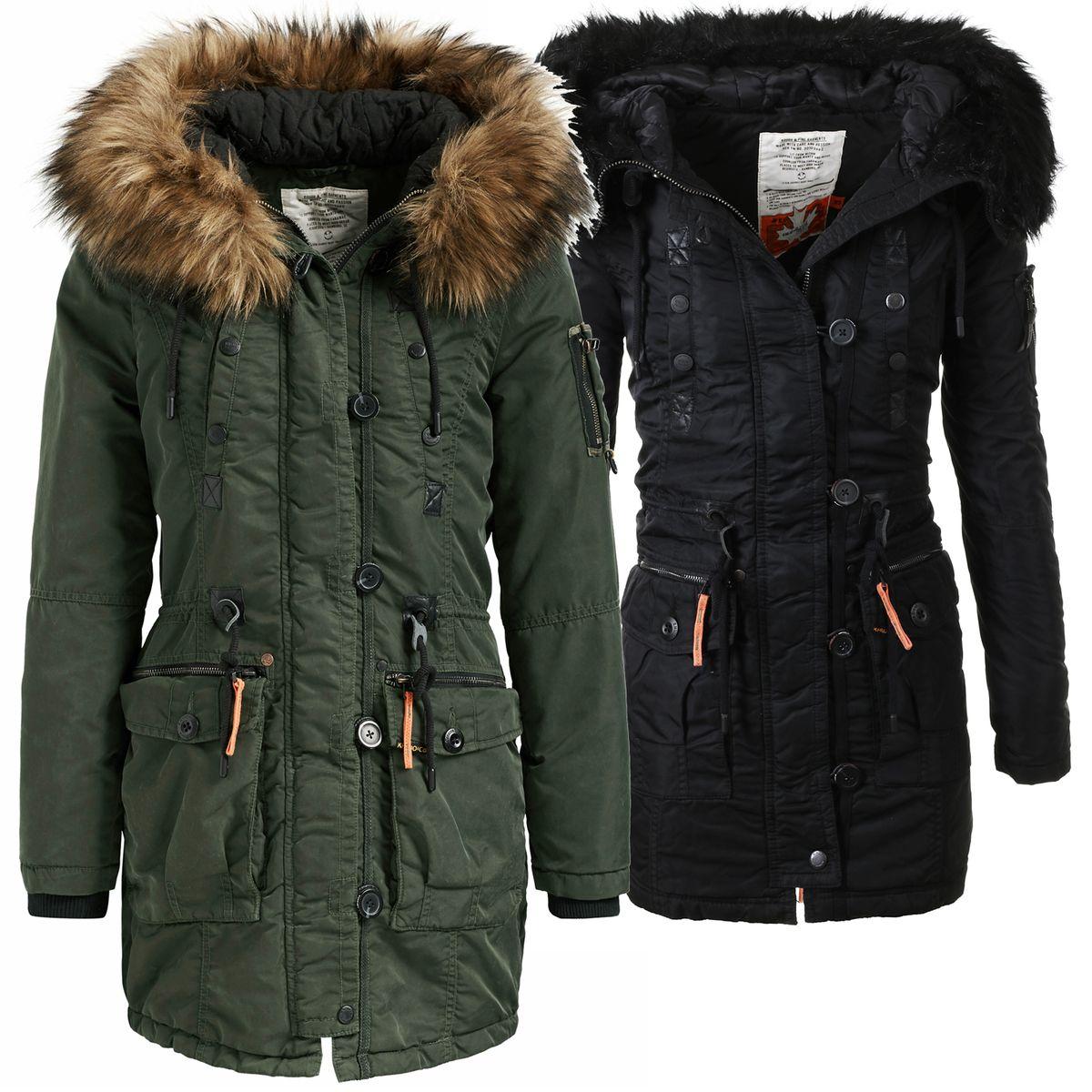 Parka Kapuze Damen 1584jk183 Gefüttert Mantel Details Mit Jacke Winter Khujo Zu Dhalia Warm 54A3RjL