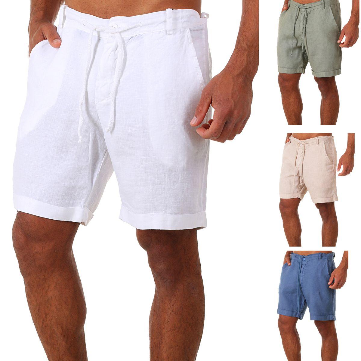 Premium-Auswahl 00517 fc928 Details zu Young & Rich Herren Leinenshorts Kurze Hose 100% Leinen Shorts  relaxed fit X8030