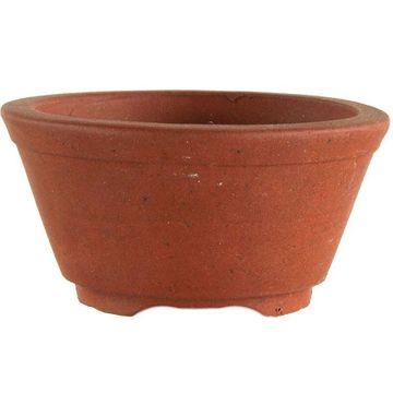 Pot à bonsaï 5.2x5.2x3cm travail manuel brun rond en grès