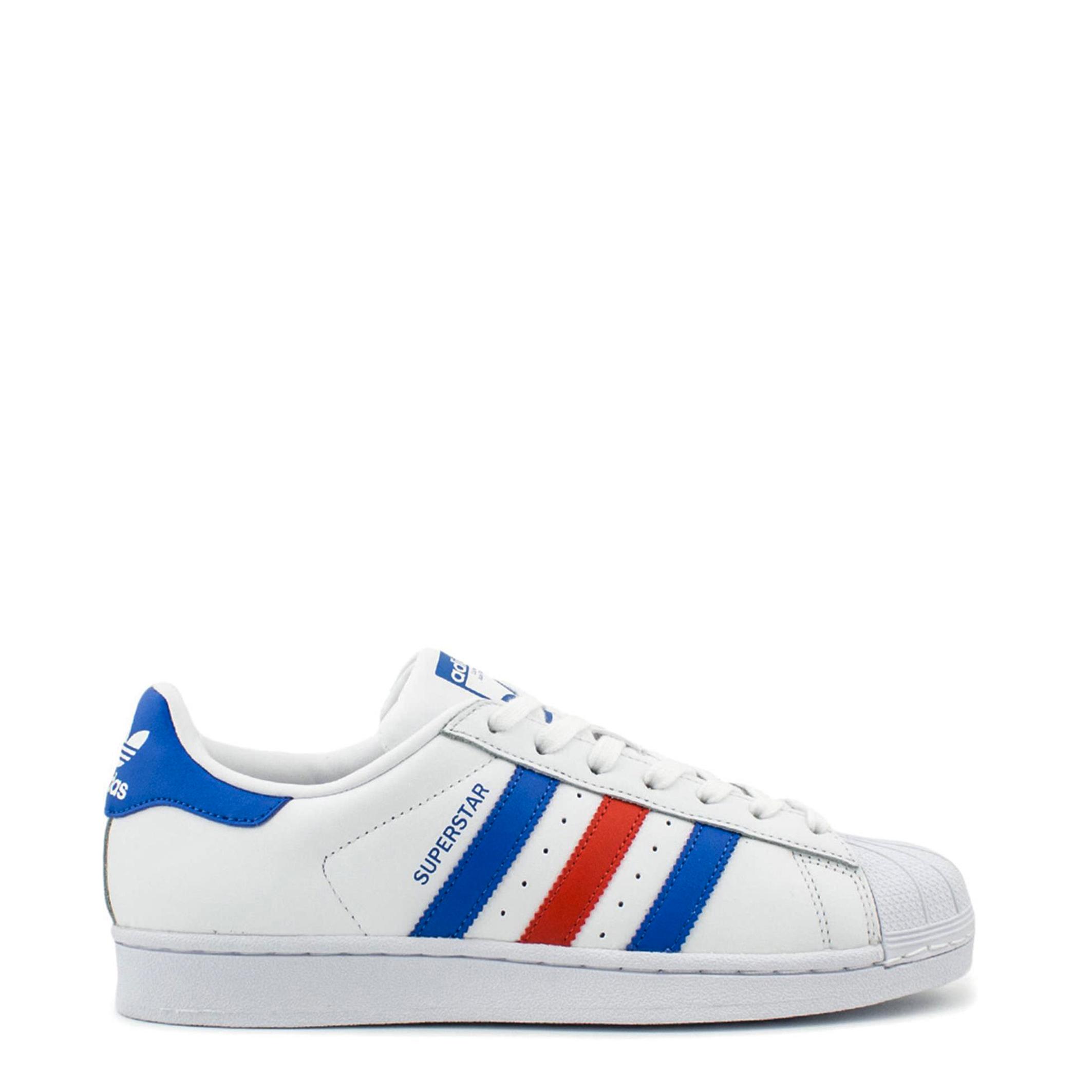 détaillant en ligne 5bc85 f423a Details about Adidas Unisexe Superstar Baskets Blanc Bleu-Rouge Rayures