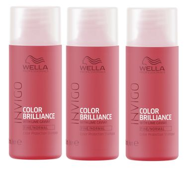3er Wella Professionals Invigo Color Brilliance Shampoo fein/normal 50 ml