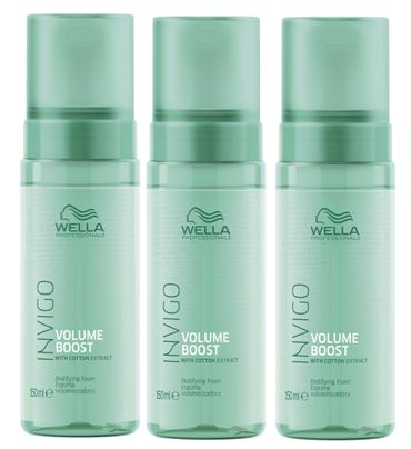 3er Wella Professionals Invigo Volume Boost Volumen Schaum 150 ml