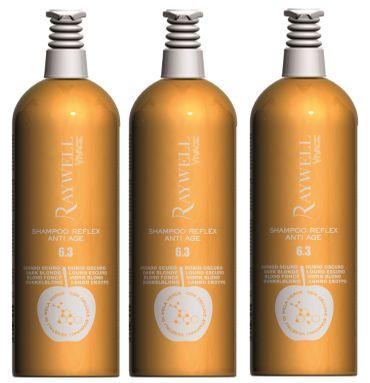 3er Raywell Vivace Shampoo Reflex Anti Age 6.3 Dunkel Blond 1000 ml