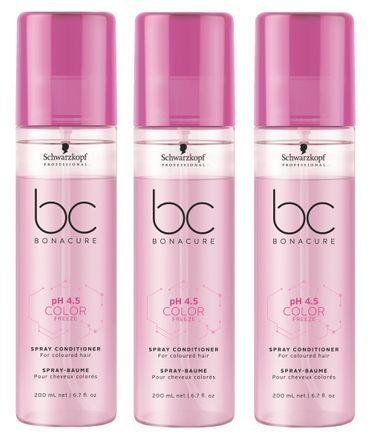 3er Schwarzkopf Professional Bonacure pH 4.5 Color Freeze Spray Conditioner 200 ml