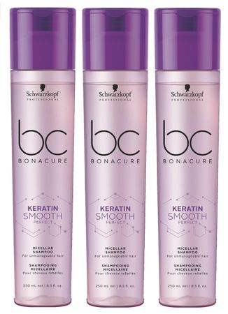 3er Schwarzkopf Bonacure Keratin Smooth Perfect Shampoo 250 ml