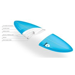 Surfboard TORQ Epoxy TET 7.2 Funboard  Pinlines – Bild 3