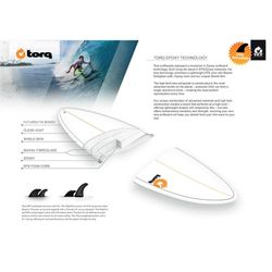Surfboard TORQ Epoxy TET 7.6 Funboard White Yellow – image 2