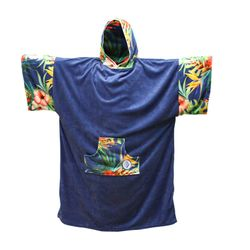 MADNESS Change Robe Poncho Unisize Navy-Flower – Bild 1