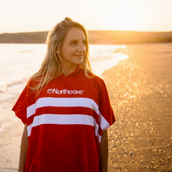 """Northcore """"Beach Basha""""- Frottee Poncho RED Stripes – image 4"""