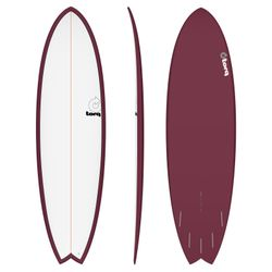 Surfboard TORQ Epoxy TET 6.6 Fish White Burgundy – image 1