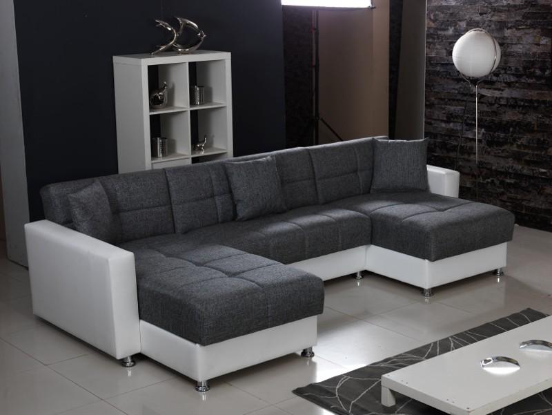 moderne polsterecke in u form mit bettfunktion inkl. Black Bedroom Furniture Sets. Home Design Ideas