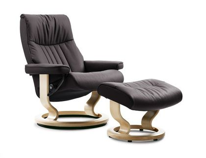 Stressless Crown L Relaxsessel mit Hocker brown large