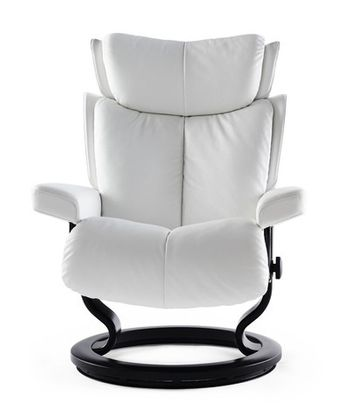 Stressless Magic S Relaxsessel mit Hocker snow/black small