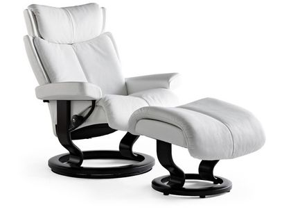 Stressless Magic M Relaxsessel mit Hocker snow/black medium – Bild 2