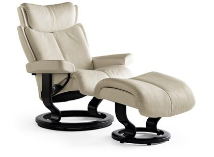 Stressless Magic M Relaxsessel mit Hocker light grey/black medium – Bild 1