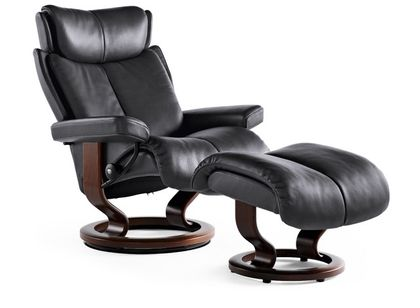 Stressless Magic S Relaxsessel mit Hocker Rock/brown small – Bild 1