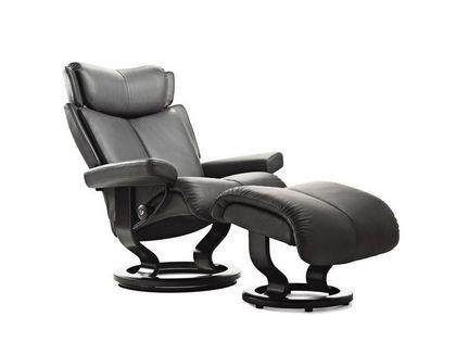 Stressless Magic M Relaxsessel mit Hocker khaki/black medium