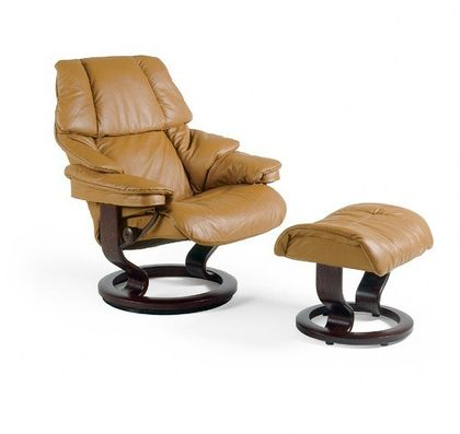 Stressless Reno M Relaxsessel mit Hocker tan/braun medium