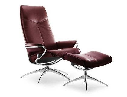 Stressless City M Relaxsessel mit Hocker burgundy high Base – Bild 1