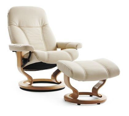 Stressless Consul L Relaxsessel mit Hocker cream/nature large – Bild 1