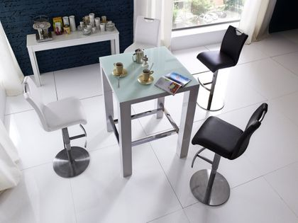 MCA Furniture Bartisch JAM, Hochglanz weiß lackiert, Glasplatte  – Bild 2