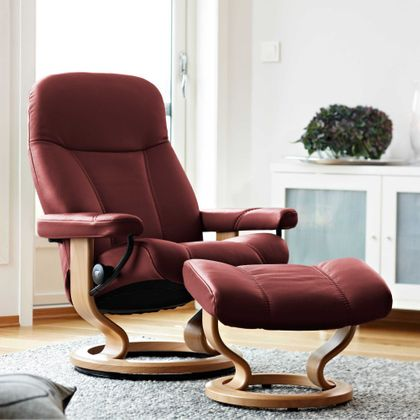 Stressless Consul S Relaxsessel mit Hocker burgundy small Ausstellungsstück! – Bild 1