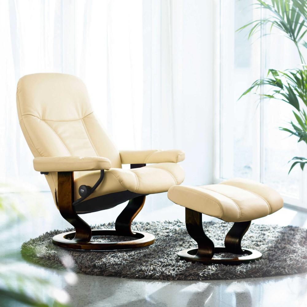 Stressless Consul S Relaxsessel Mit Hocker Cream Small