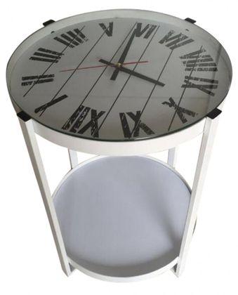 Beistelltisch | Couchtisch | Nachttisch | Sofatisch | Uhr | Weiss – Bild 2