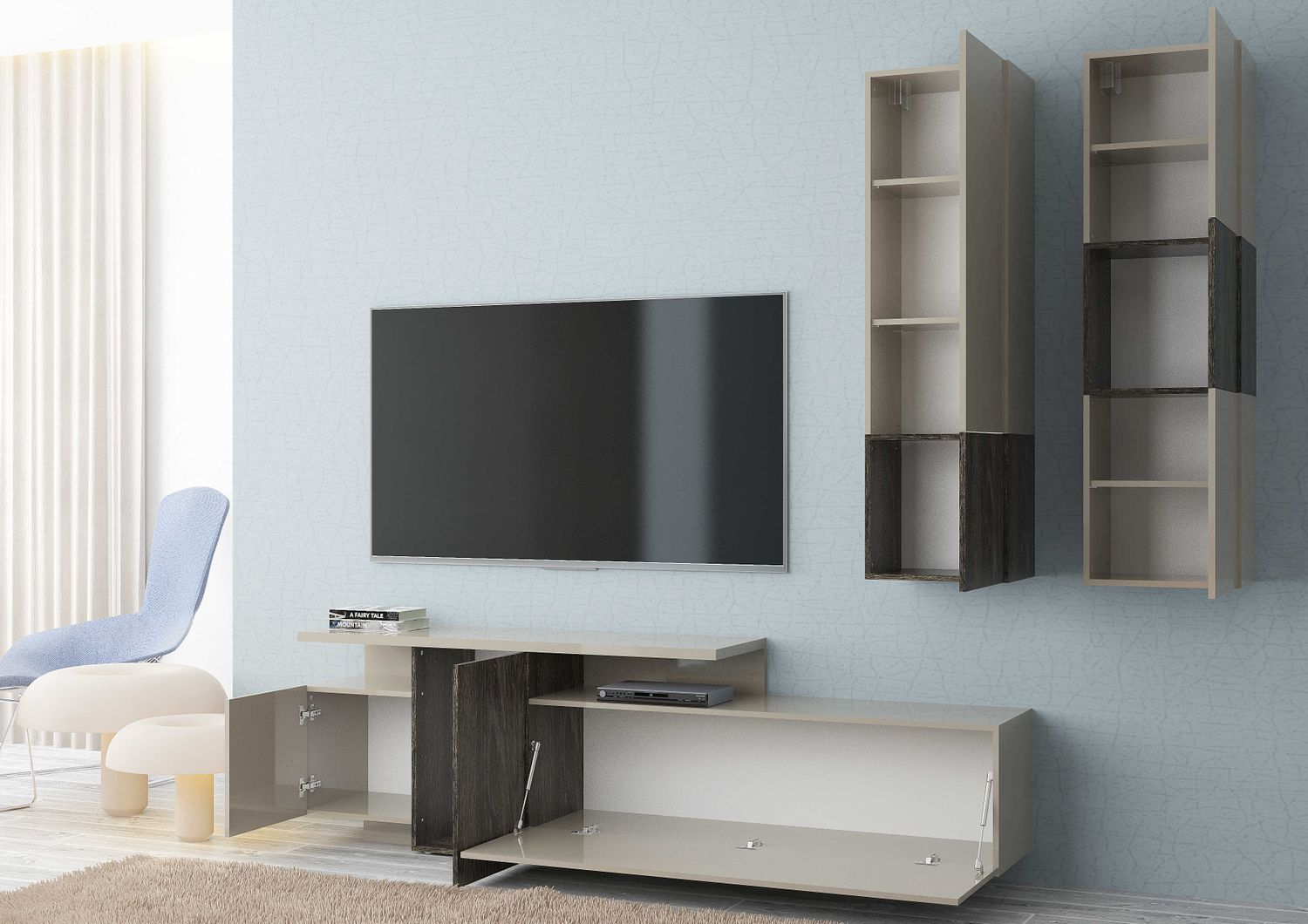 tecnos wohnwand maggiore 3 tlg sandfarben hochglanz buchefarben dunkel. Black Bedroom Furniture Sets. Home Design Ideas