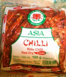 CHILI  EXTRA  SCHARFE  ROTE  CHILI  SCHOTEN 100 g  NGR  INDIEN