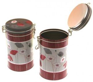 Kaffeedose Vorratsdose Blumen-Dekor rund 106/185 mm Bügelverschluß