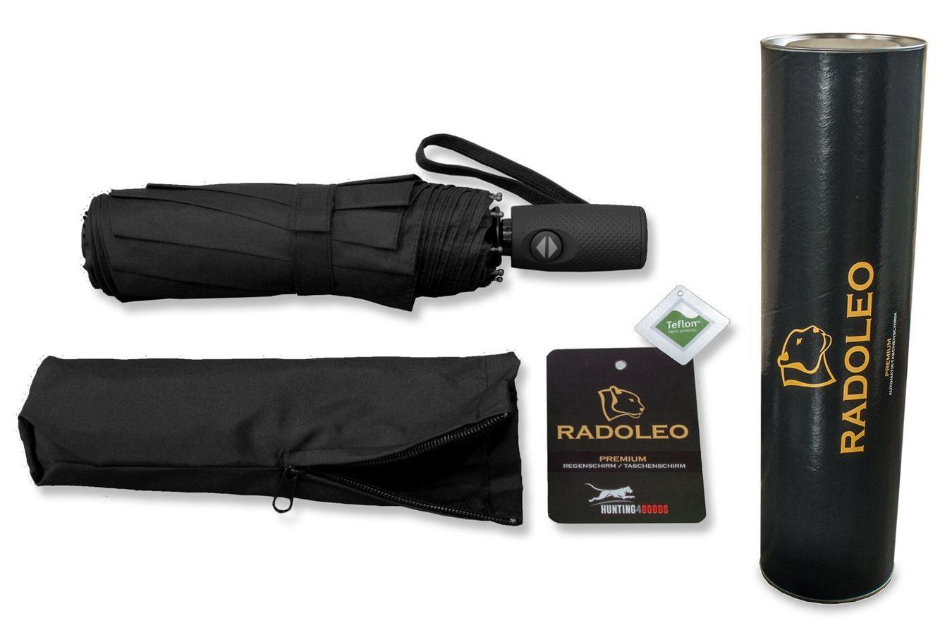 schwarzer Taschenschirm in hochwertiger Geschenkbox | Premium Automatik | Windstabil bis 140 km/h | Auf-Zu-Automatik | Teflonbeschichtung | von RADOLEO® – Bild $_i