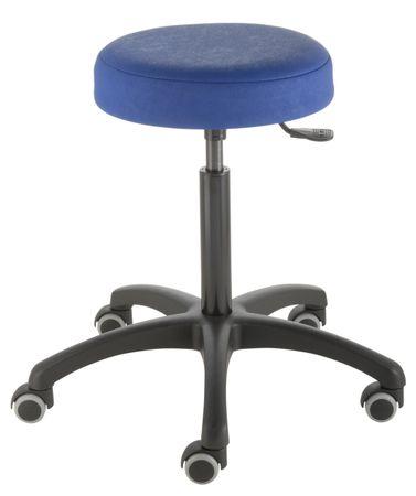 Friseurhocker Poppi® cut, Sitzhöhe ca. 59 bis 85 cm, Rundsitz, KS-Fußkreuz, freilaufende Rollen