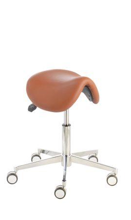Sattelsitzhocker docy® royal  LISSABON 4613, Sitzhöhe ca. 47 - 61 cm, Sitzfläche aus echtem Leder, Komfort-Rollen – Bild 3
