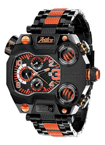 Zeitlos T1 Carbon Black Orange Steelband ZL-T1 Limited Edition 001