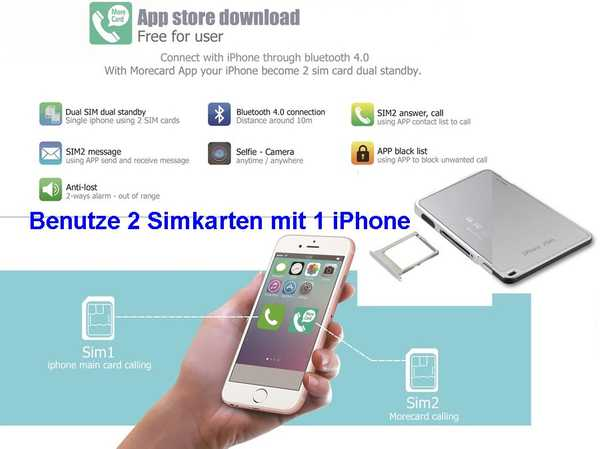 2 Simkarten für 1 iPhone iPad Bluetooth Adapter Dual Sim Karte 001