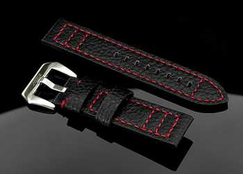Handmade Black Buffalo Lederband 22mm Black Red Edition