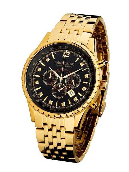 "Calvaneo 1583 Aerostar II ""Diamond Gold Black"" Massiver verg. Diamant Chronograph 001"